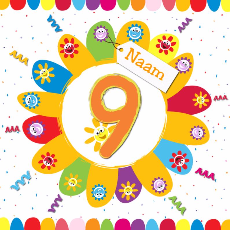 Verjaardagskaarten - zonnebloemen 9 jaar met eigen naam
