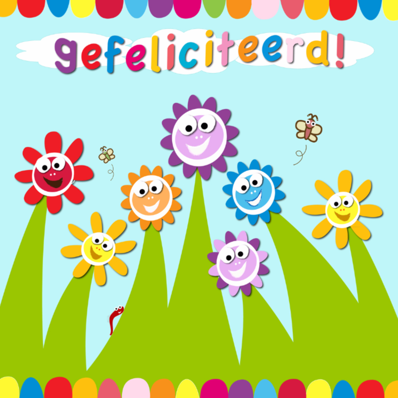 Verjaardagskaarten - zonnebloemen en vlinders gefeliciteerd