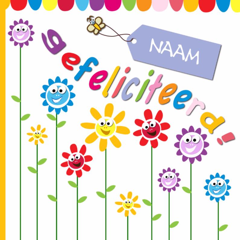 Verjaardagskaarten - zonnebloemen gefeliciteerd met naam