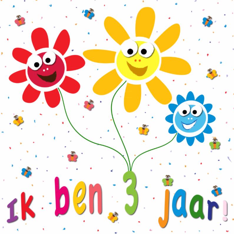 Verjaardagskaarten - zonnebloemen met gezichtjes 3 jaar