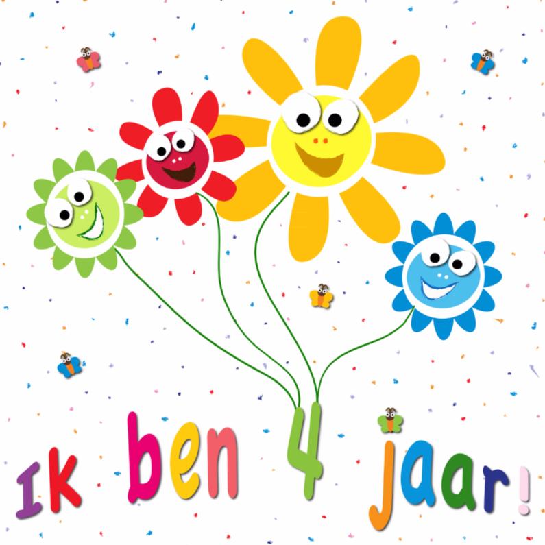 Verjaardagskaarten - zonnebloemen met gezichtjes 4 jaar