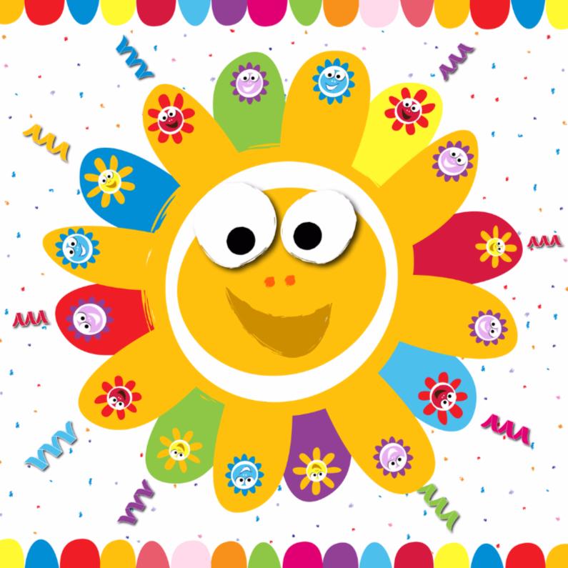 Verjaardagskaarten - zonnebloemen vrolijk