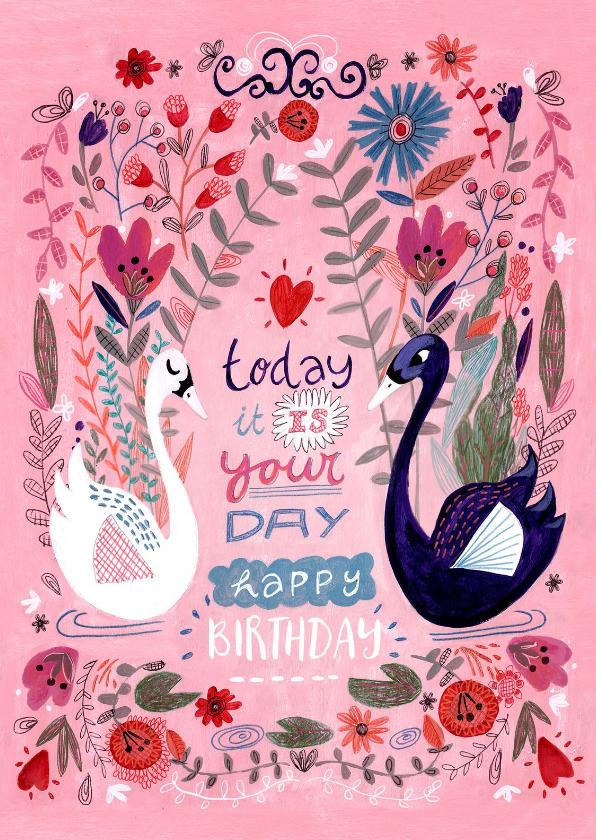 Verjaardagskaarten - Zwanen verjaardag bloemenkaart