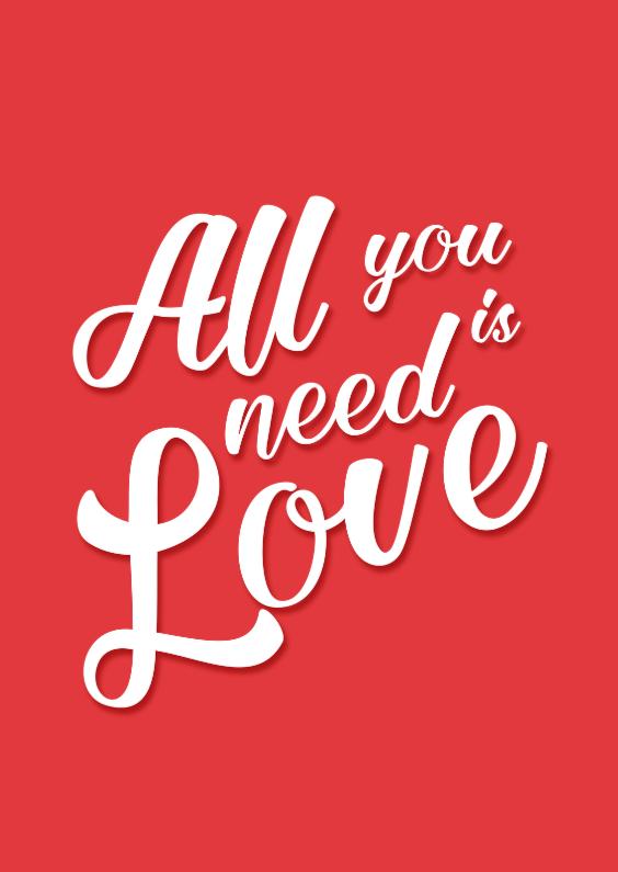 Vriendschap kaarten - All you need is love - DH