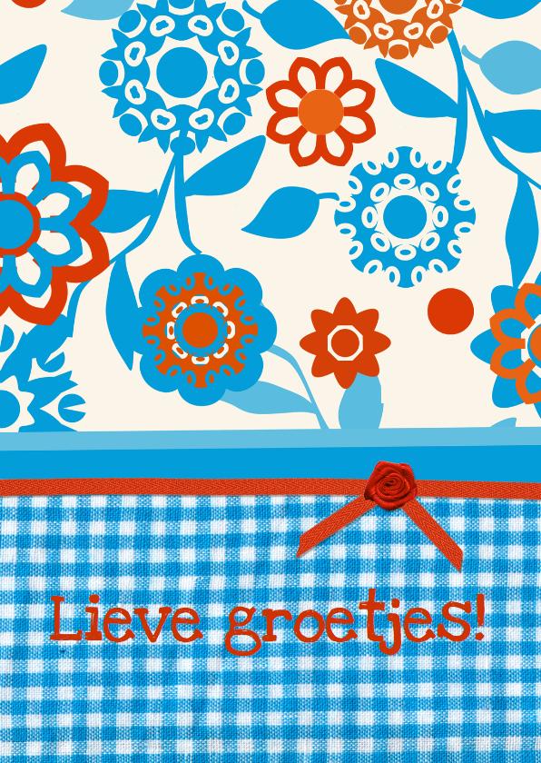 Vriendschap kaarten - Bloemenkaart blauw2 collectie Linde