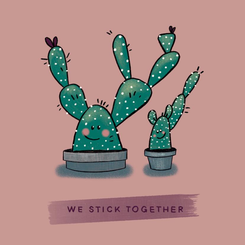 Vriendschap kaarten - Gezellige vriendschapskaart met twee vrolijke cactussen