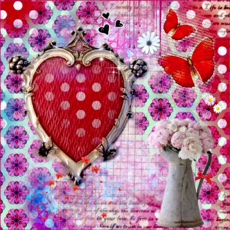 Vriendschap kaarten - Hart bloemen Mixed Media