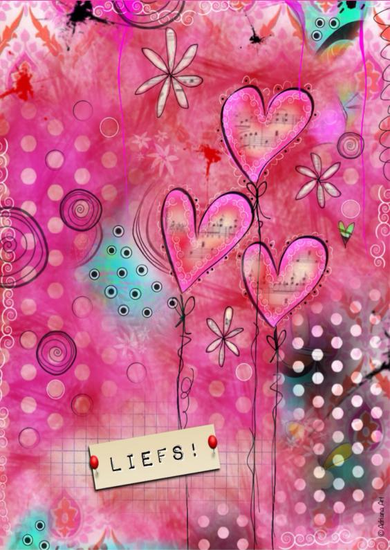 Vriendschap kaarten - Liefs hartjes bloemetjes mixed media