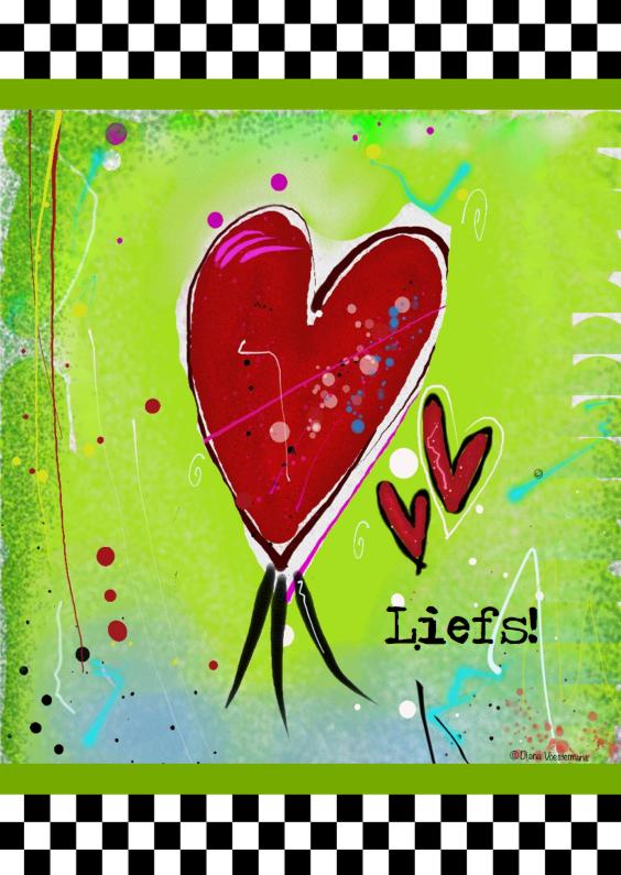 Vriendschap kaarten - Liefs hartjes en ruitjes