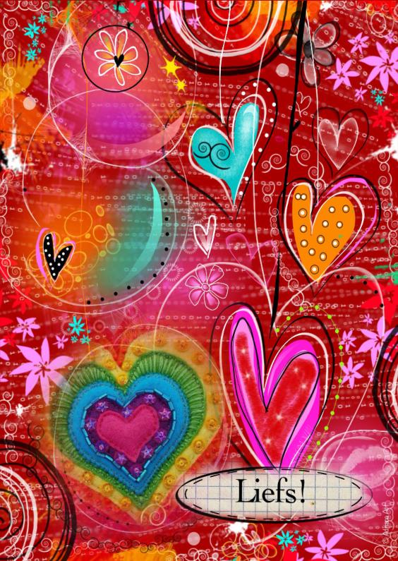 Vriendschap kaarten - Liefs hartjes mixed media