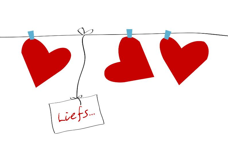 Vriendschap kaarten - Liefs hartjes waslijn
