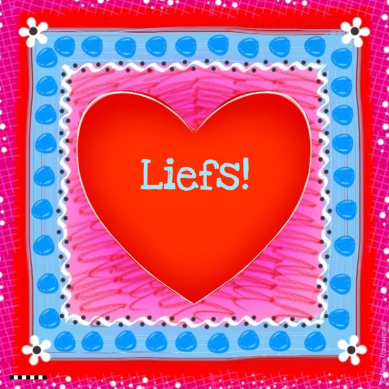 Vriendschap kaarten - Liefs rood hart en bloemetjes