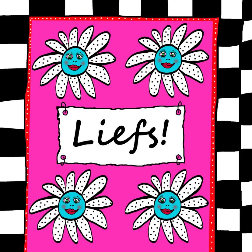 Vriendschap kaarten - Liefs roze met bloemetjes