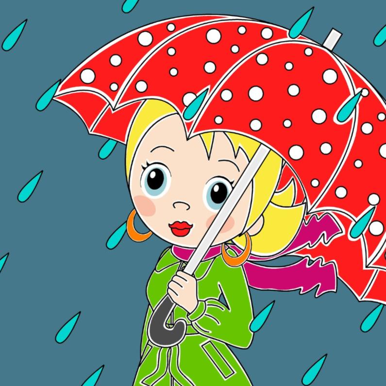 Vriendschap kaarten - Meisje met paraplu in de regen