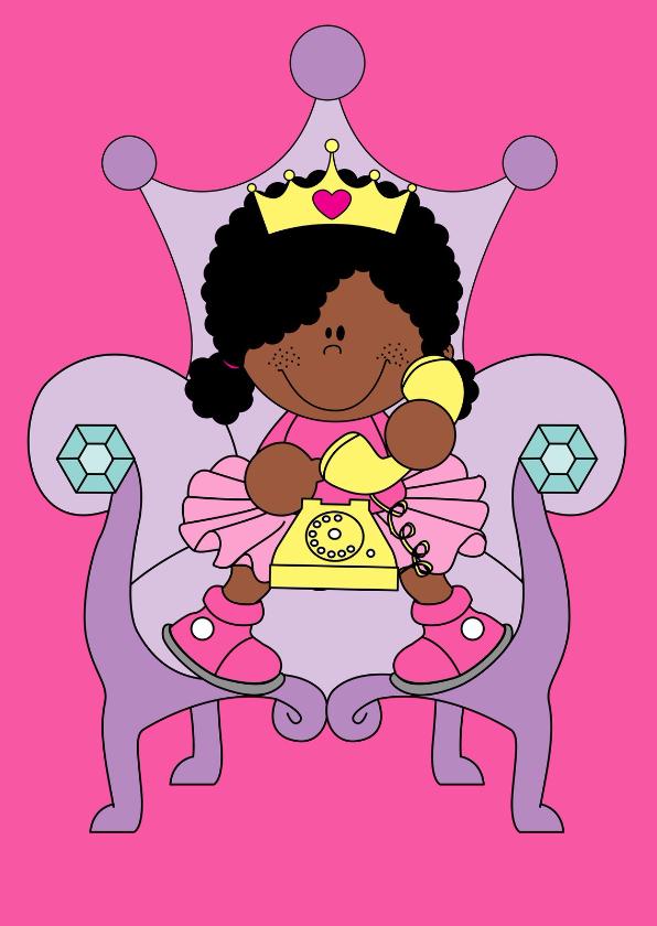 Vriendschap kaarten - Prinses met telefoon!