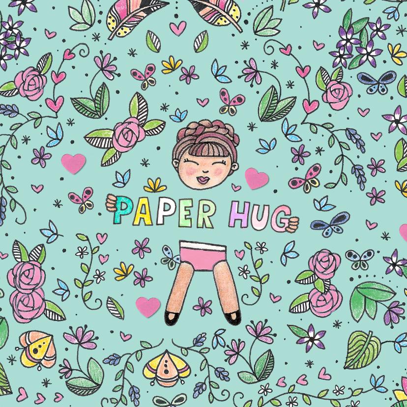 Vriendschap kaarten - Schattige kleurrijke paper hug kaart