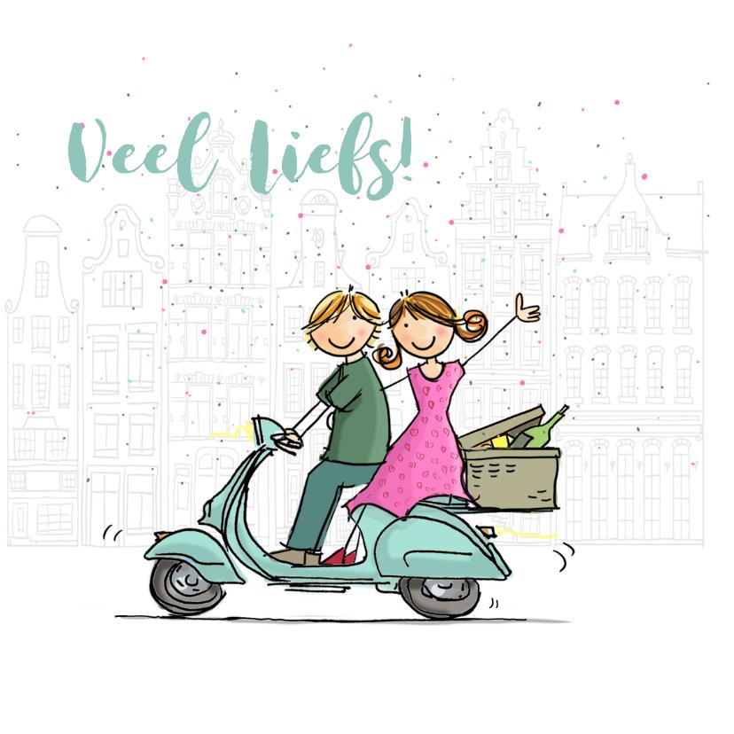 Vriendschap kaarten - Vespa scooter blauw kaart