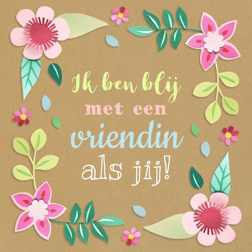 Vriendschap kaarten - Vriendinnenkaart met bloemen
