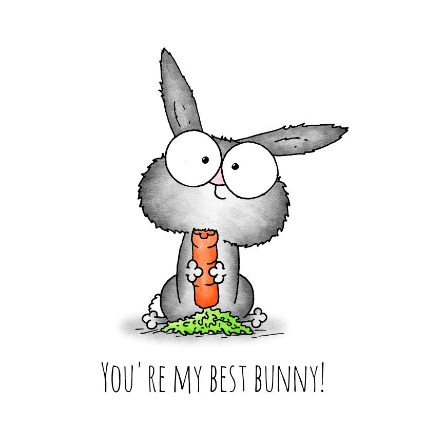 Vriendschap kaarten - vriendschap kaart konijntje - You're my best bunny