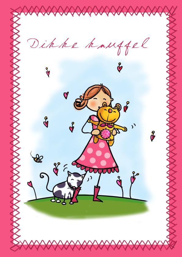 Vriendschap kaarten - Vriendschapskaart met een meisje en knuffelbeer