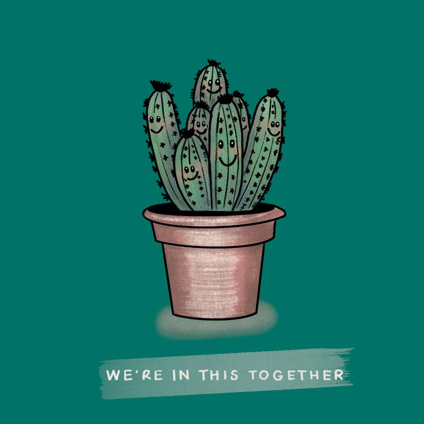 Vriendschap kaarten - Vrolijke vriendschapskaart met cactussen samen in een pot