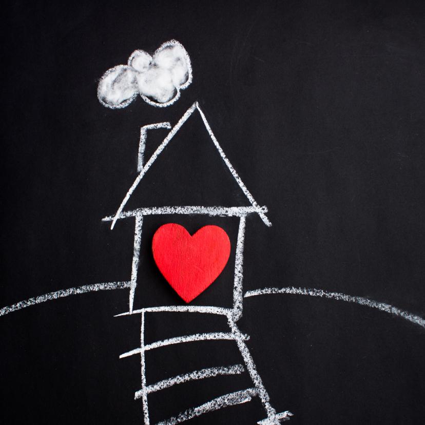 Welkom thuis kaarten - Nieuw huis kaart met wit huis en rood hart op bord