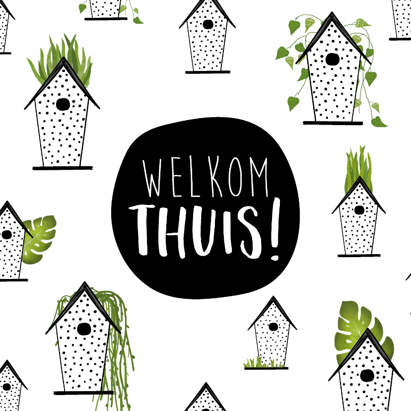 Welkom thuis kaarten - Welkom thuis kaart met kleine schattige huisjes