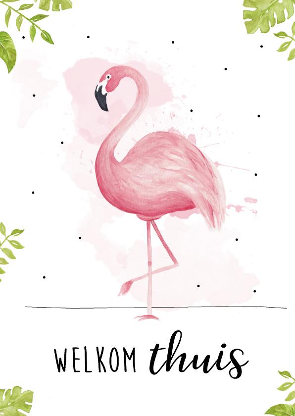 Welkom thuis kaarten - Welkom thuis kaart met tropische bladeren en roze flamingo