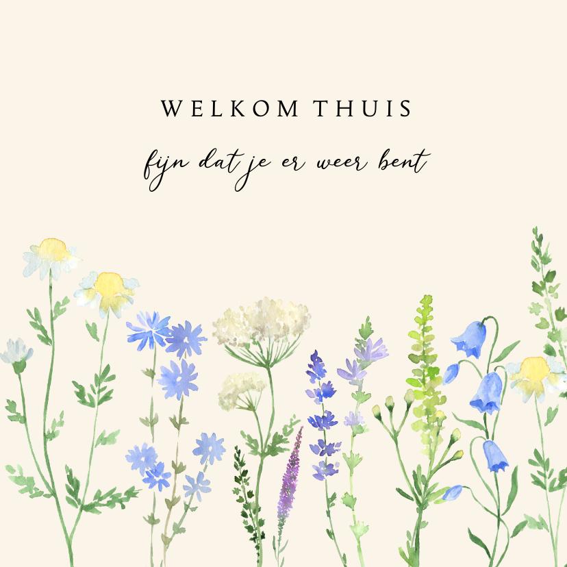 Welkom thuis kaarten - Welkom thuis kaart veldbloemen