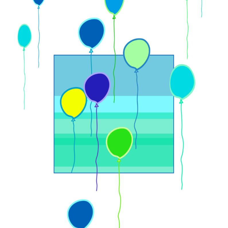 Wenskaarten divers - Ballonnetjes in groen en blauw