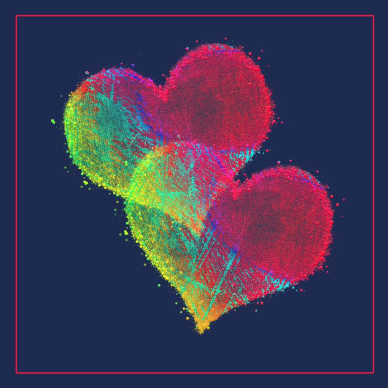 Wenskaarten divers - Gekleurde hartjes in donkerblauw