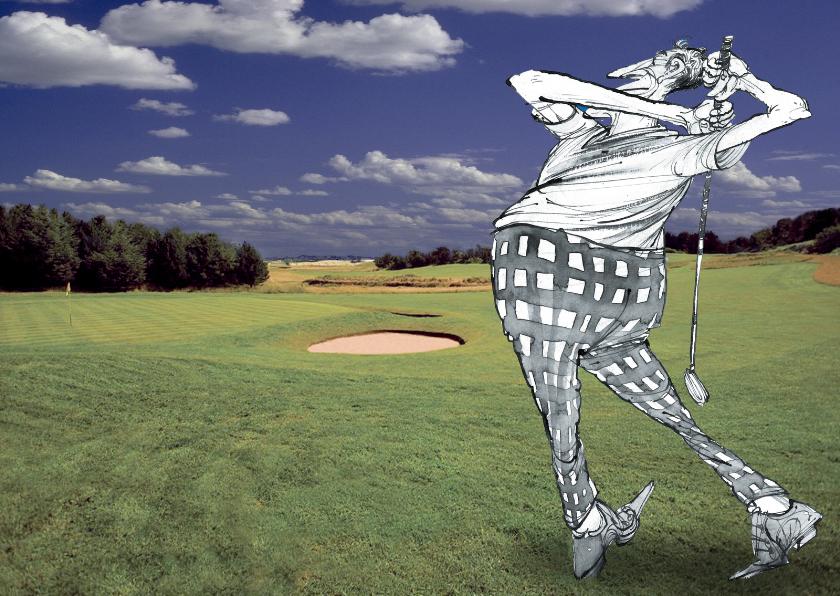 Wenskaarten divers - golf