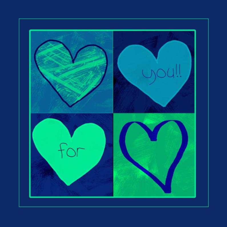 Wenskaarten divers - groen blauwe hartjes