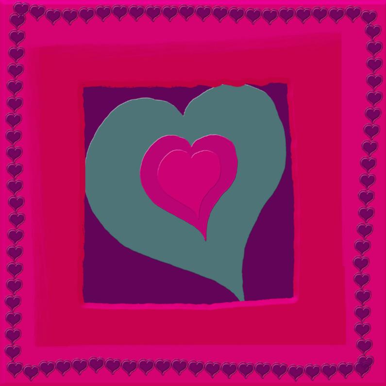 Wenskaarten divers - Groen rood hartje