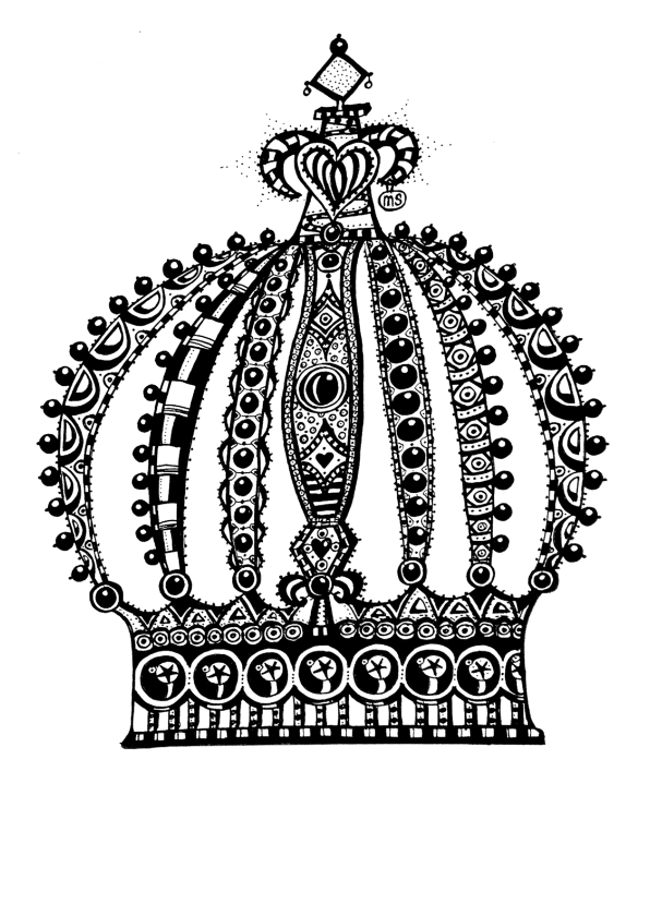Wenskaarten divers - Handgetekende kroon