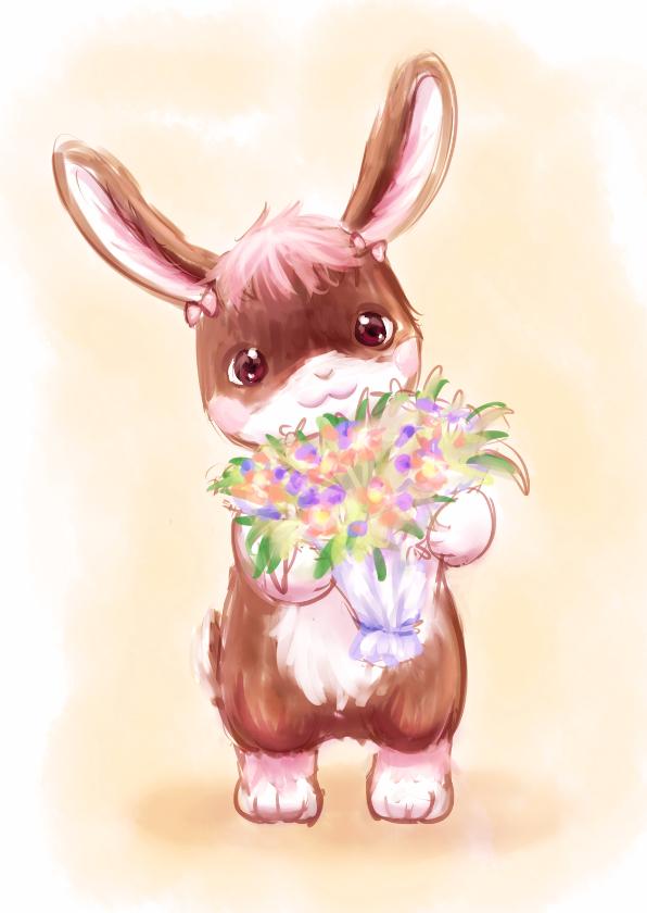 Wenskaarten divers - Lief konijn met bos bloemen