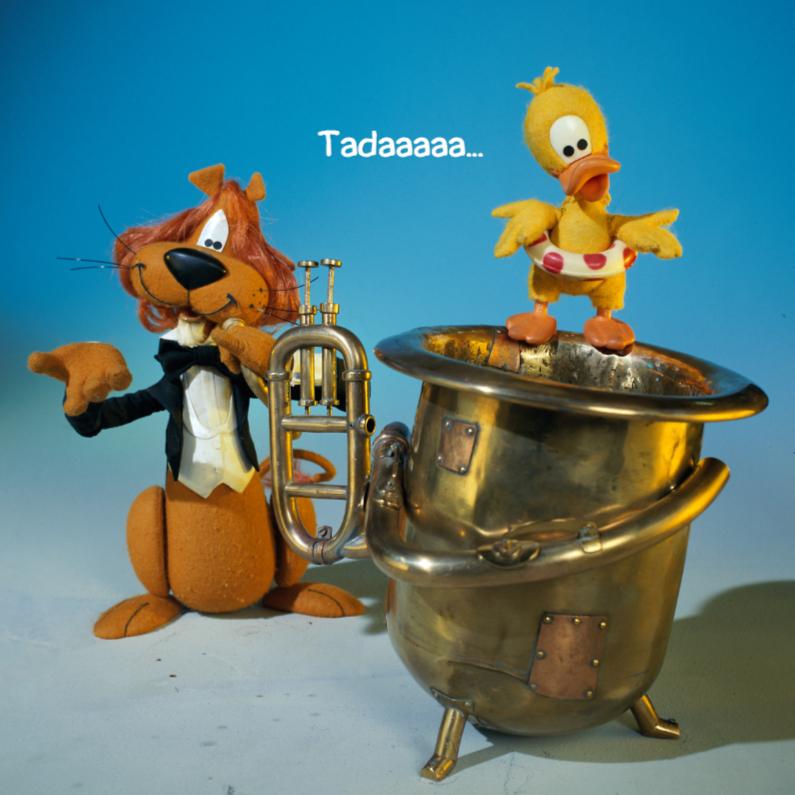 Wenskaarten divers - Loeki de Leeuw speelt tuba