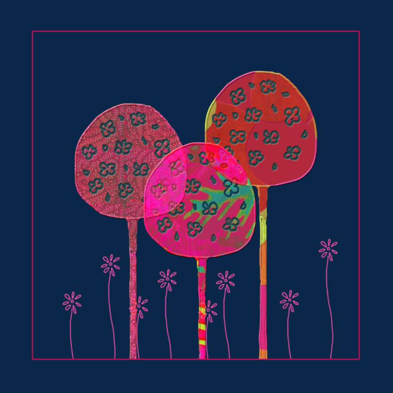 Wenskaarten divers - Rode boompjes en bloemen