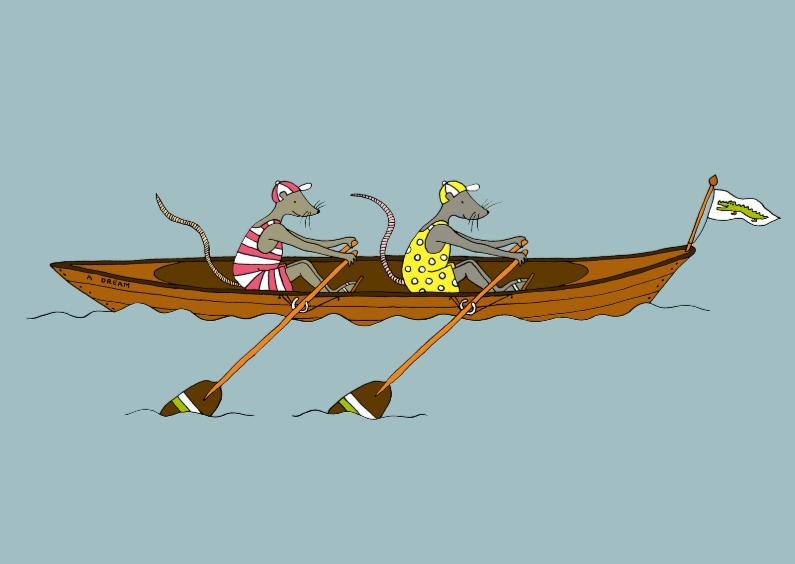 Wenskaarten divers - Roeiboot met twee muizen