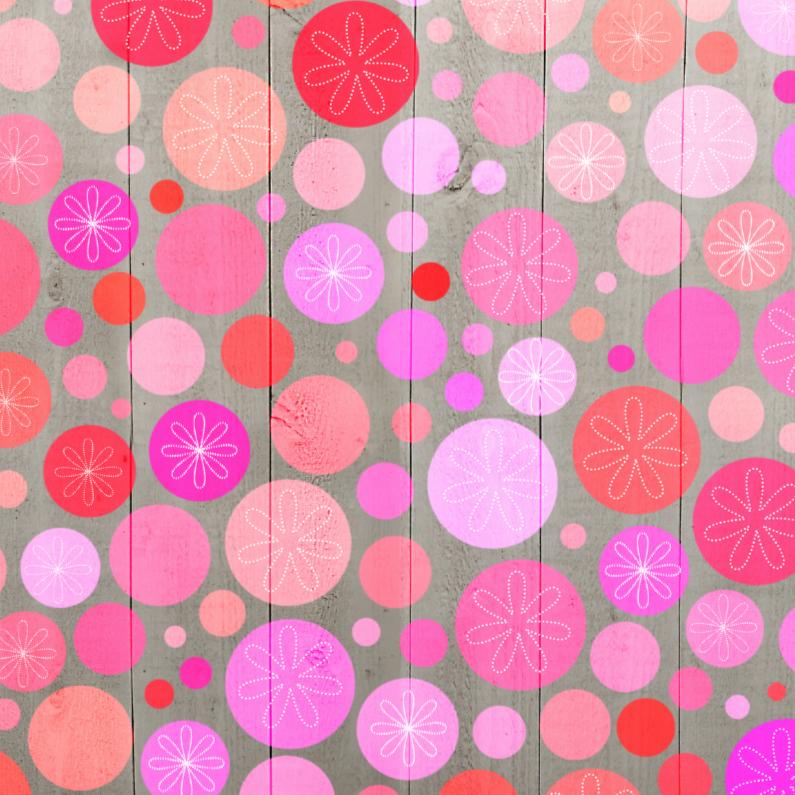 Wenskaarten divers - Stippen roze op hout