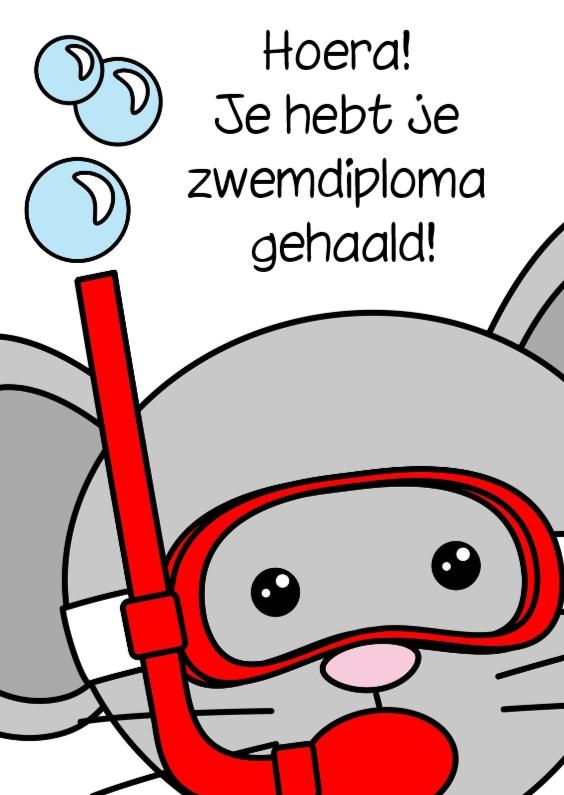 Wenskaarten divers - Zwemdiploma muis met duikbril