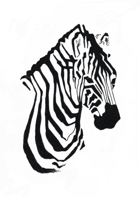 Woonkaarten - Bijzondere kaart met Zebra illustratie zwart-wit