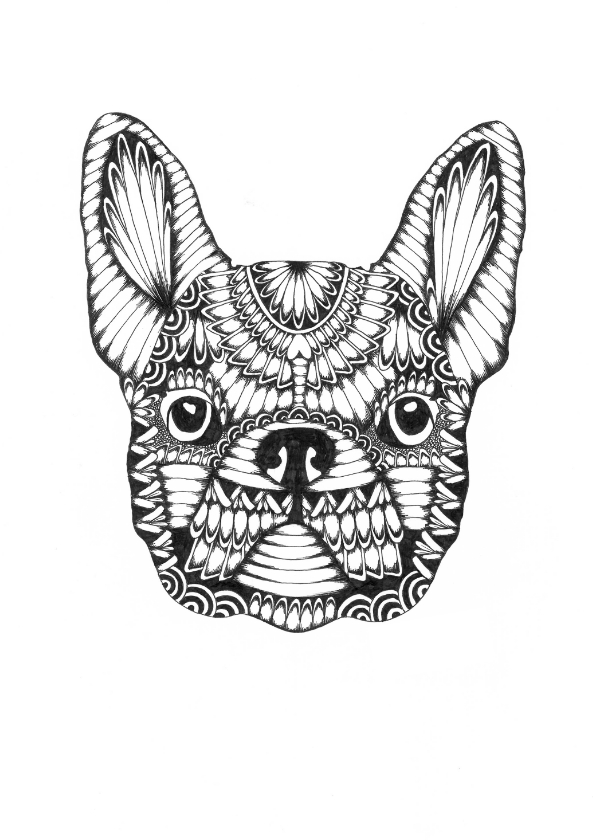 Woonkaarten - Franse bulldog zwart/wit illustratie