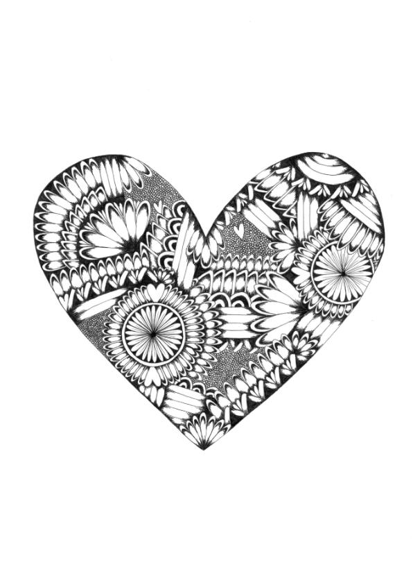 Woonkaarten - Hart zwart/wit illustratie