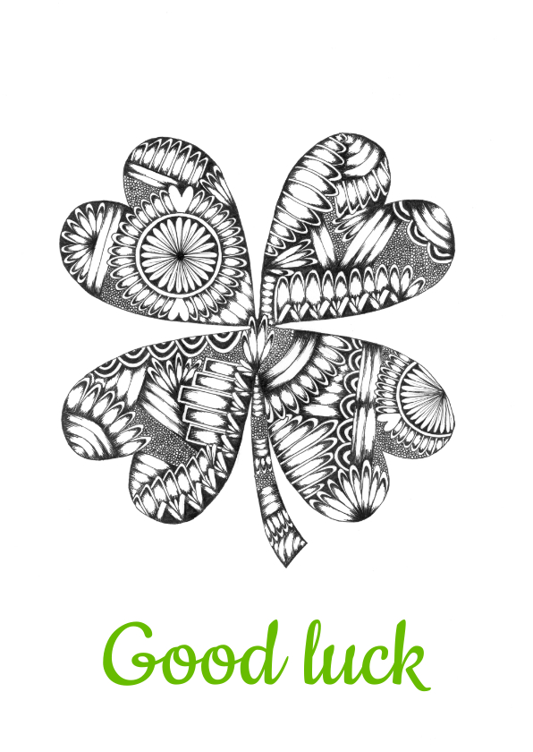 Woonkaarten - Klavertje vier zwart/wit illustratie Good Luck