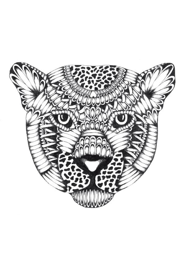 Woonkaarten - Luipaard zwart/wit illustratie