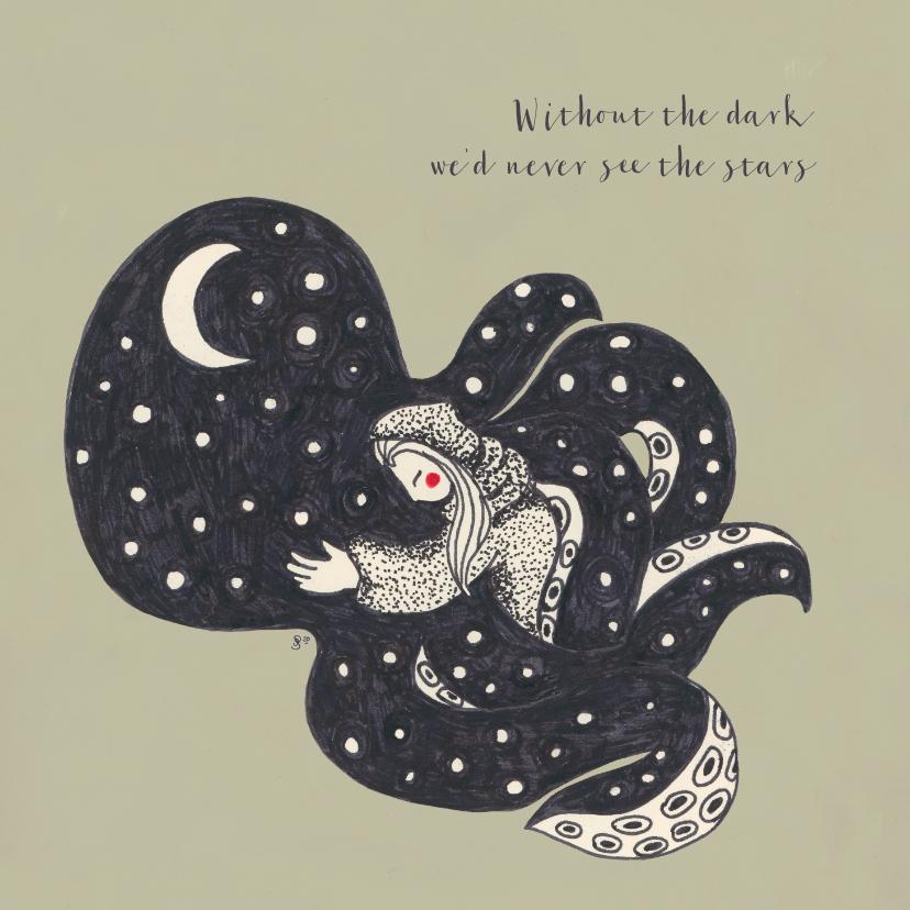 Woonkaarten - Originele illustratie met een knuffelende octopus en quote