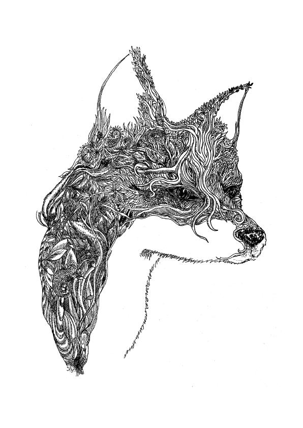 Woonkaarten - Originele kaart met vos illustratie zwart - wit