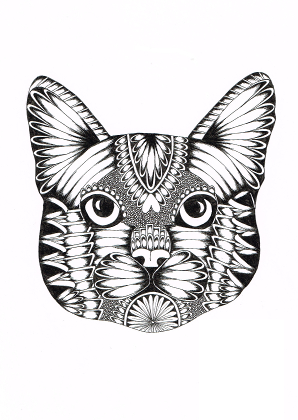 Woonkaarten - Poes zwart/wit illustratie