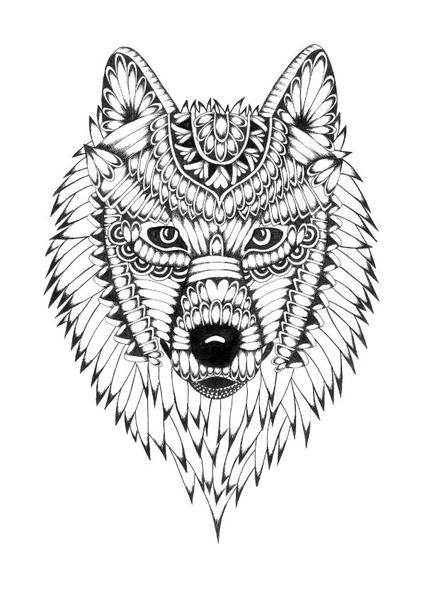 Woonkaarten - Wolf zwart/wit illustratie